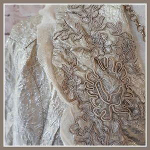 Karen Kane Gold Jacquard Foil Crinkle Jacket